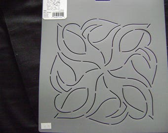 Sashiko Japanese Embroidery Stencil 8.25 in. Swirling Leaves Motif Block/Quilting