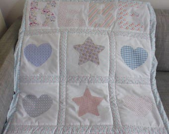 baby quilt fleece pastel stars and hearts