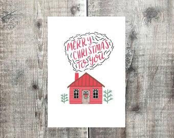 Merry Christmas to you - christmas card - card set - log cabin - xmas card set - greeting card
