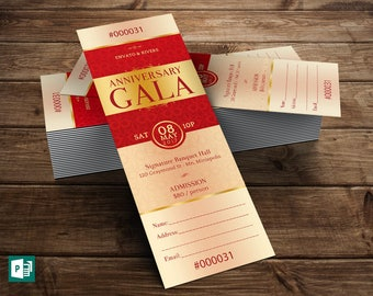 Elegant Anniversary Gala Ticket Publisher Template ( 8 Background Files  Included )  Dinner Ticket Template