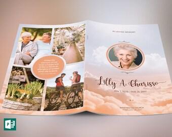 Heaven Funeral Program Publisher Template