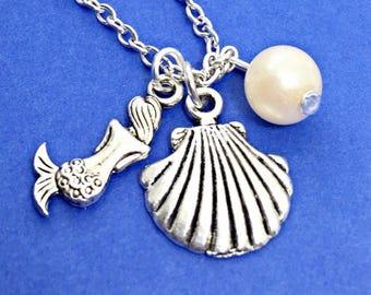Mermaid necklace - under the sea, mermaid charm, mermaid jewelry, under the sea charm necklace, nautical jewelry, little mermaid gift