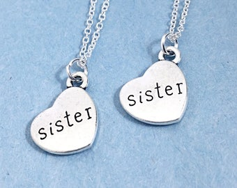 Set of 2, Sister Necklace Set of 2, Sister Jewelry, Matching Sister Necklace, Custom Sister Gift, Personalized, Monogram, Sister Necklace