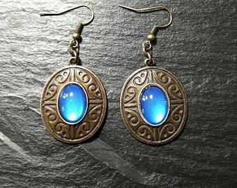Blue Sapphire earrings metallic bronze / ethnic Bohemian boho/blue cabochon painted by hand / long pendant/gift women girl