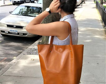 brown Leather Shopper / Leather Tote / Shoulder Bag / brown Leather tote /tan Leather Bag / Women's Handbag / Raw Edged Shopper / brownTote