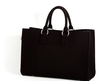 Felt bag Black shopper Sarah 100% Merino design wool felt-size B 44 x H 30 x D 18 cm