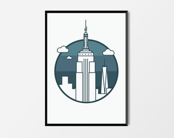 Empire State Building, New York Print | New York Artwork | New York Illustration | Architecture Print | City Print | Empire State Print