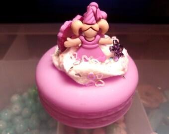 Kawaii Princess Pink Macaroon Trinket Box-Macaroo Trinket Box-Memory Charm Box-Floating Charm Box-Charm Box-Trinket Box-Kawaii-