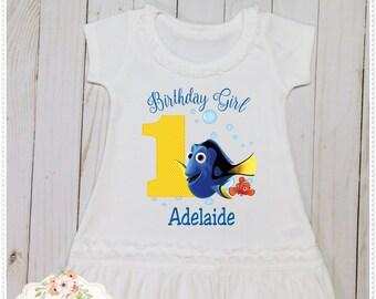 Girls Dory Birthday; Dory Birthday Dress, Dory Birthday Clothing, Dory 1st – 4th Birthday, Dory Cotton Birthday Dress,Free Personalization