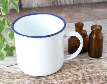 Vintage Enamel Mug, Vintage Mug, Vintage White Enamel Mug, Vintage Enamelware