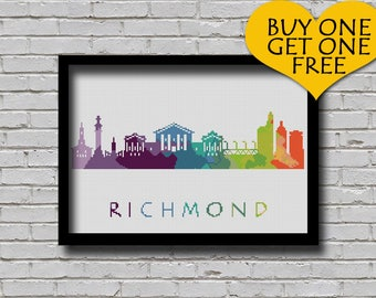 BOGO Cross Stitch Pattern Richmond Virginia Silhouette Watercolor Effect Painting Decor Embroidery Modern Ornament Usa City Skyline Xstitch
