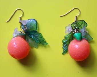Orange blossom charm earrings, orange charm earrings, statement earrings, kitsch fruit earrings, orange earrings, fruity jewellery, kitsch
