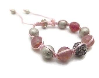 Pink Rhinestone and jade Chinese knot bracelet