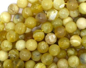 "10mm yellow opal round beads 15"" strand 39122"