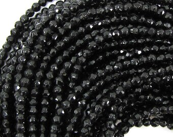 "3mm faceted black onyx round beads 15"" strand 31025"