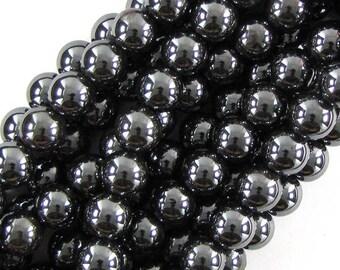 """12mm hematite round beads 16"""" strand 19644"""