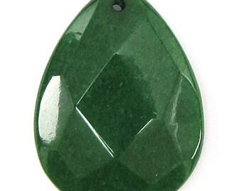 30x40mm faceted emerald green jade flat teardrop bead pendant 30462