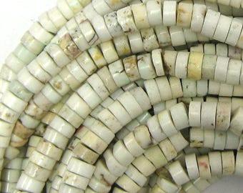 "6mm white turquoise heishi beads 16"" strand 33736"