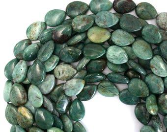 """18mm green dragon blood jasper flat teardrop beads 16"""" strand 39429"""
