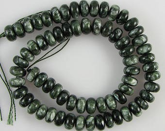 "10mm Russian seraphinite rondelle beads 16"" strand 448"