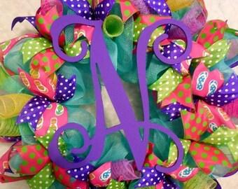 SALE Summer Wreath, Monogram wreath, summer monogram wreath, spring wreath, colorful wreath, bright wreath, wreath, summer decor