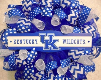PRE-LABOR DAY Sale University of Kentucky Wreath, U of K Wreaths, University of Kentucky, University of Kentucky Decor, Wildcats wreath, Wil