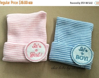On Sale It's a boy and it's a girl newborn hospital hats, infant bonnet, Striped beanie, baby girl or baby boy, twins, free gift wrap, gende