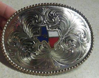 Trophy Belt Buckle Texas Inlaid red~white~blue~star Hand Engraved Nickel Silver.