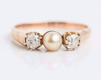 14k Yellow Gold   Victorian c. 1880   Diamond and Pearl