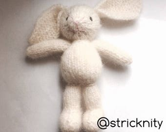 Knitted mohair off white bunny with floppy ears for babies and newborn photo props