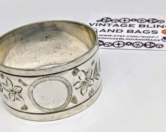 Vintage silver plated engraved napkin ring, vintage napkin ring, napkin ring,  napkin ring, antique napkin ring, Silver plate napkin ring