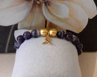 1 of a KIND AAA+ Chevron Amethyst Bracelet with 18k gold plated Cancer Awareness Ribbon