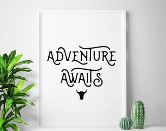 ADVENTURE AWAITS quote print adventure prints adventure poster adventure wall art adventure gallery wall idea