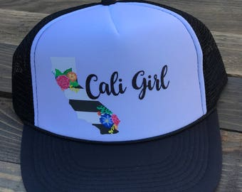 California Trucker Hat, Cali Girl Hat, California Girl Hat
