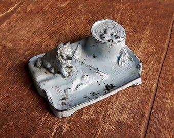 Antique Zinc Pen Holder,Dip Pen holder with ink pot,Wolf Fountain Pen Holder
