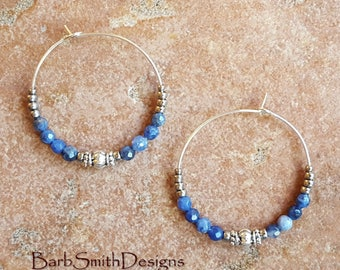 "Beaded Blue and Silver Hoop Earrings, Sodalite Beads, Large 1 3/8"" Diameter in Sodalite"