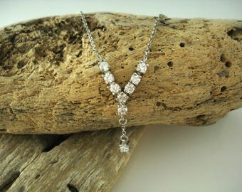 Sterling silver, Necklace ,Rhodium Plated,Cubic Zirconia,Chain Pendant, Made in Greece,Geometric jewellery