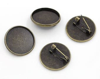 round cabochon 20mm, bronze alloy brooch finding kit 1pc zinc