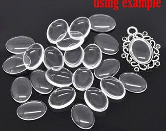 10 cabochons/OVALES18x13mm clear glass dome