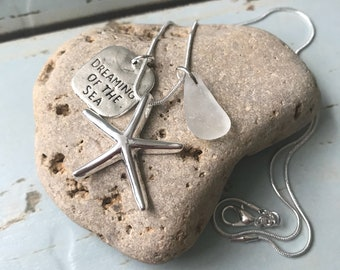 "Starfish Necklace ""Dreaming of the Sea"" Genuine English Sea Glass. Handmade in the U.K. Free U.K. delivery and Gift Box."