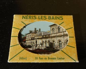 "Mini vintage postcards tourist - ""NERIS LES BAINS"" - colorized vintage photography"