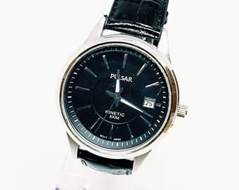 Pulsar Watch, Black Watch for Men, Kinetic Watch For him, Men's Watches for men, Gents Watch for boyfriend, large face watch for father