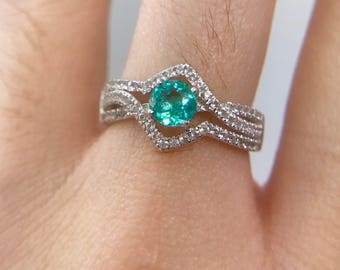 Paraiba color neon blue natural apatite ring in 925 silver white gold plated