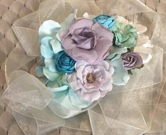 Teal/blue  grey boy bump bouquet pregnancy corsage sash photo prop baby shower