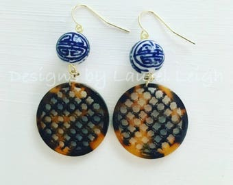 Tortoise Earrings | Chinoiserie, blue and white, hoops, gold, dangle, statement earrings, tortoise shell, tortoiseshell, clover, quatrefoil