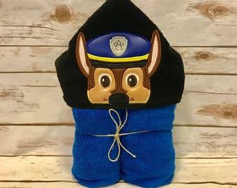 Hooded Towel, Paw Patrol Hooded Towel, Paw Patrol Bath Towel, Bath, Bathroom, Paw Patrol Towel, Chase Hooded Towel