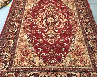 Carpet rug 100% wool fabulous carpet red and beige color warm vintage style carpet old rug retro style suitable for home and for restaurant.