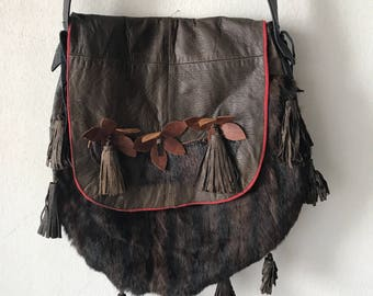 Chic bag from real mink fur&leather with fashionable leather fringe new collection designer bag handmade women's brown bag has size-medium.