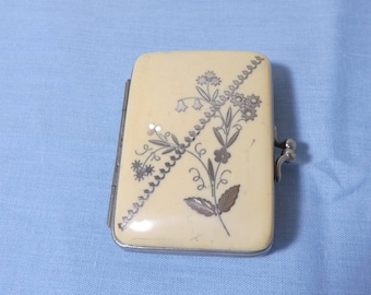 Vintage French Coin Purse Silver Inlay Early Plasic Silk Interior