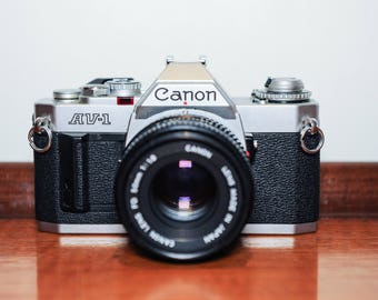 Canon AV-1 35mm SLR Film Camera & Canon FD 50mm F1.8 Prime Lens - 1970's #417